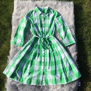 Boden Green and White Gingham Dress Size 4